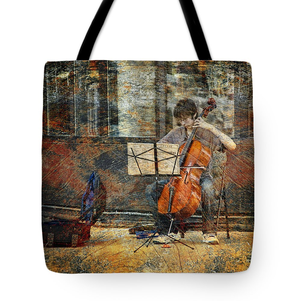 Art Tote Bag featuring the photograph Sidewalk Cellist by Randall Nyhof