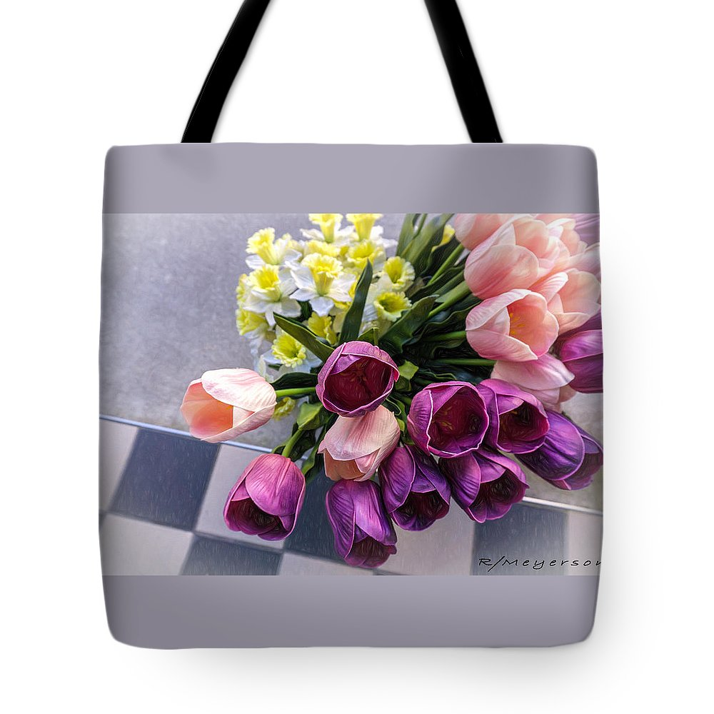 Horizontal Tote Bag featuring the photograph Sidewalk Flowers by Robert Meyerson