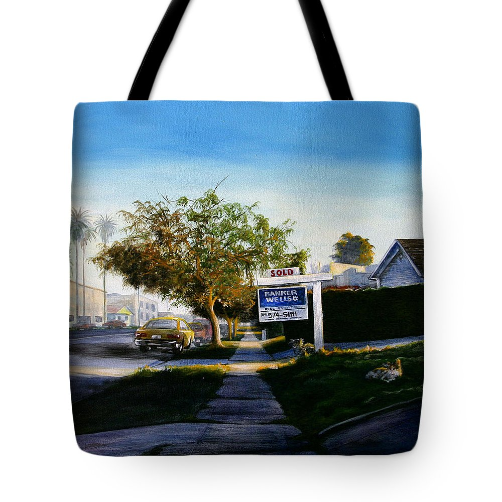 City Scapes Tote Bag featuring the painting Sidewalk Sale by Duke Windsor
