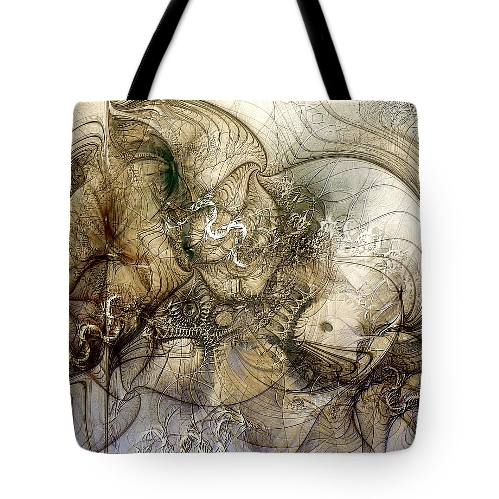 Abstract Tote Bag featuring the digital art Sidewinder by Casey Kotas