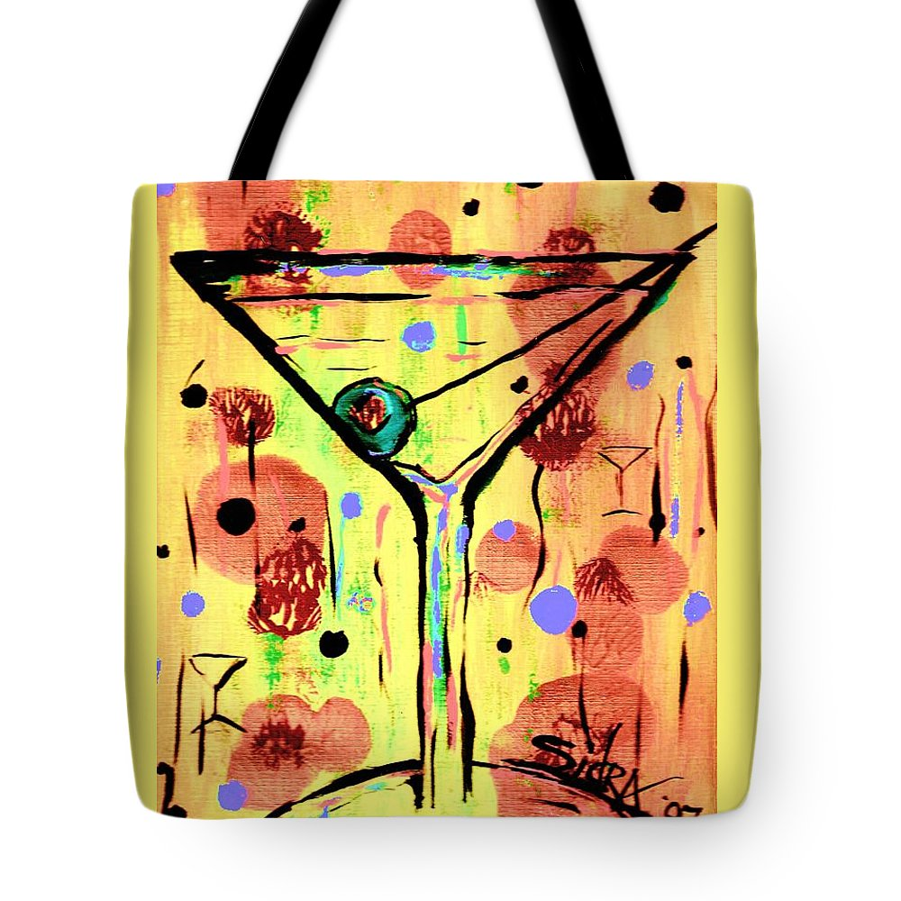 Martini Tote Bag featuring the painting Sidzart Pop Art Martini This Is Sooo Mine by Sidra Myers
