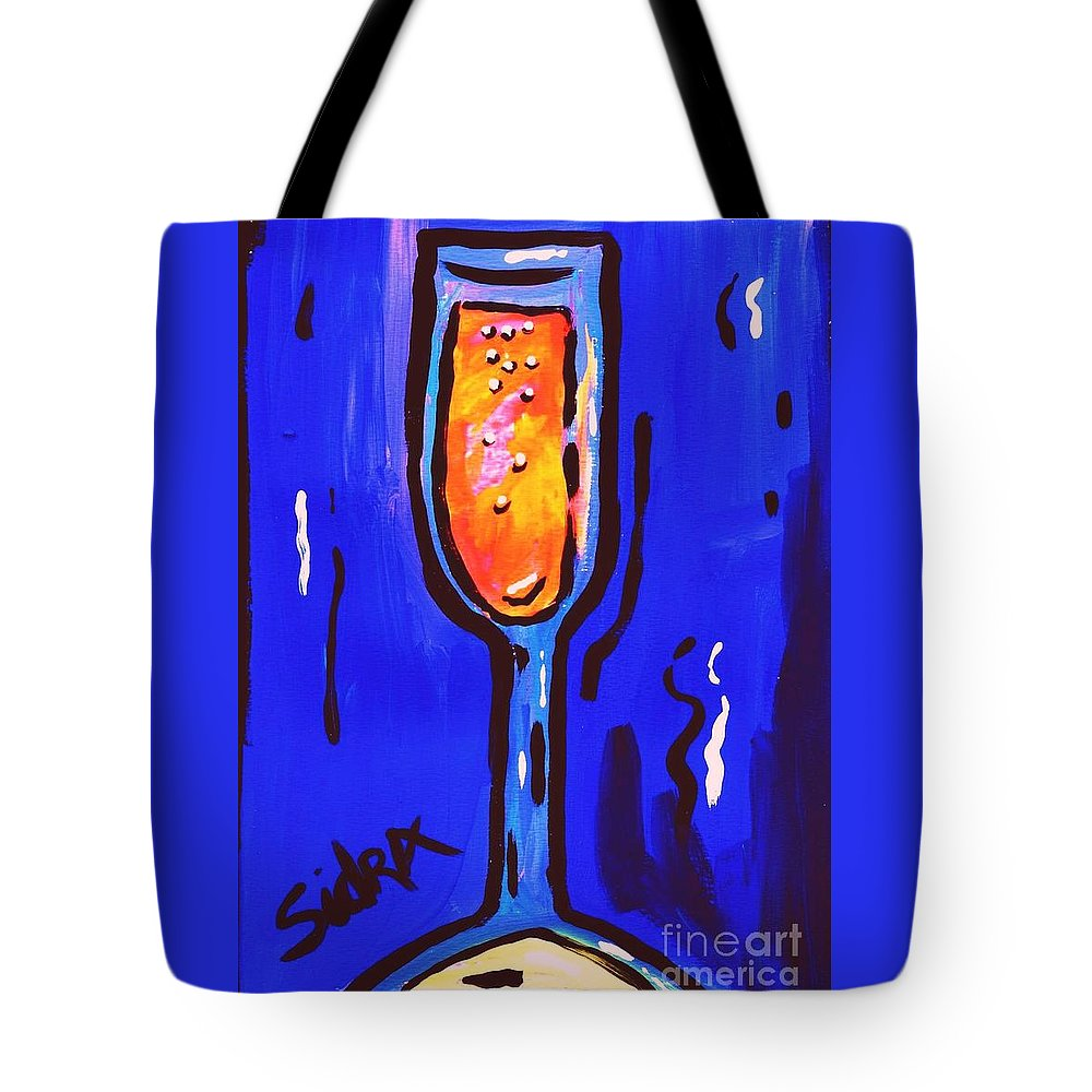 Champagne Tote Bag featuring the painting Sidzart Pop Art Series 2002 Champagne Celebration by Sidra Myers