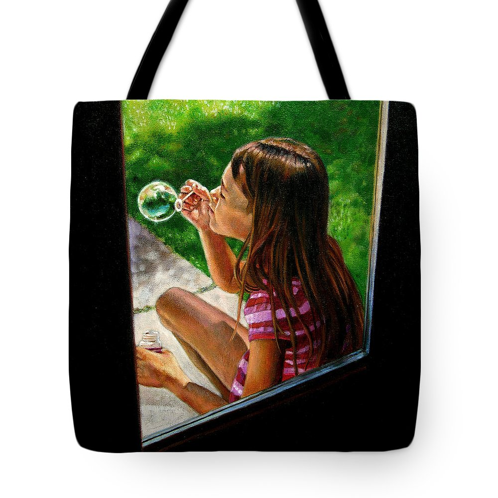 Girl Tote Bag featuring the painting Sierra Blowing Bubbles by John Lautermilch