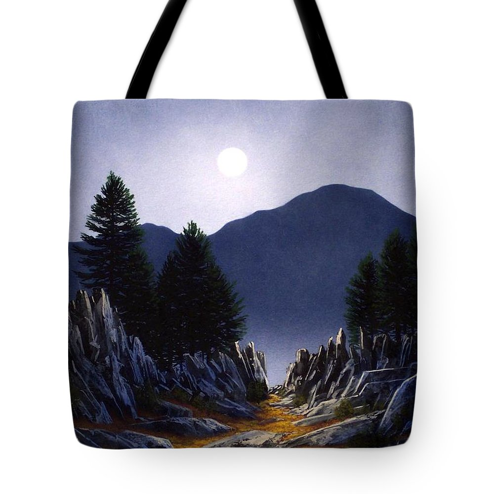 Mountains Tote Bag featuring the painting Sierra Moonrise by Frank Wilson