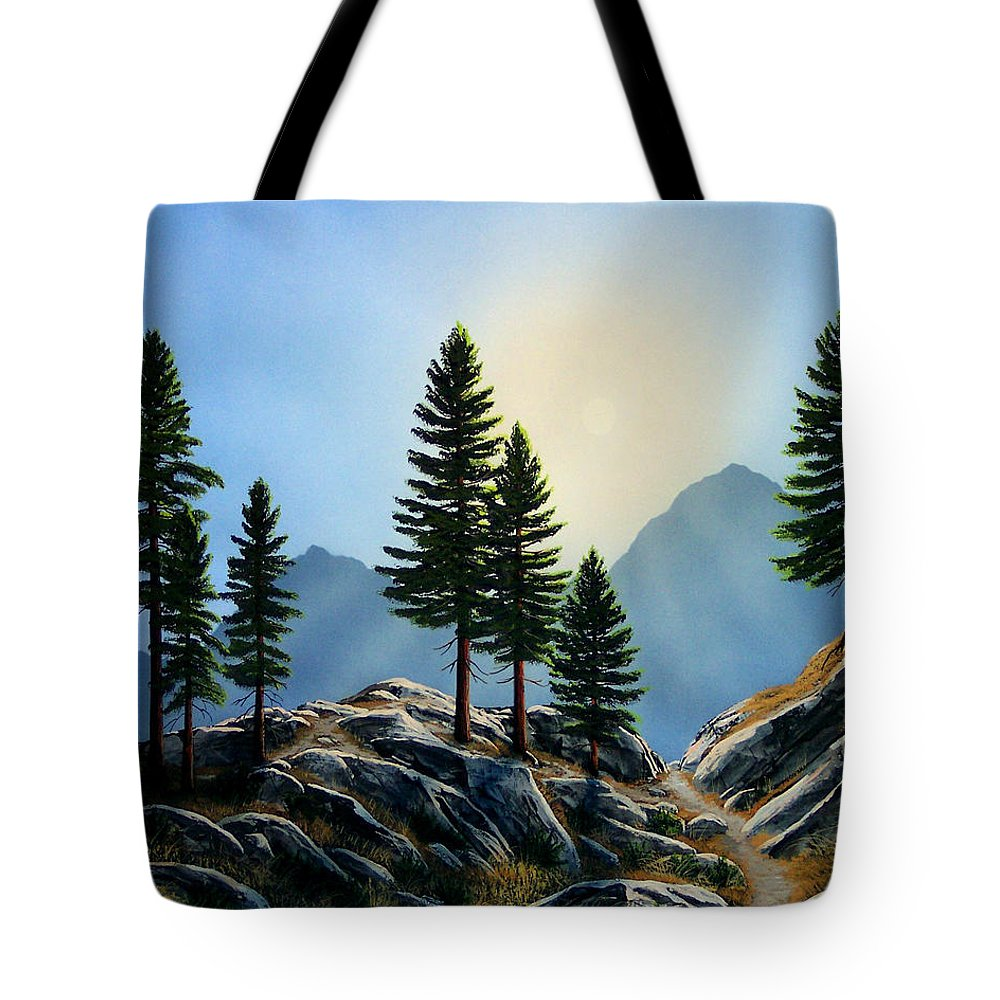 Landscape Tote Bag featuring the painting Sierra Sentinals by Frank Wilson