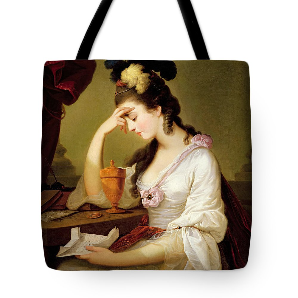 Sigismonda Tote Bag featuring the painting Sigismonda And The Heart Of Guiscardo by Moses Haughton