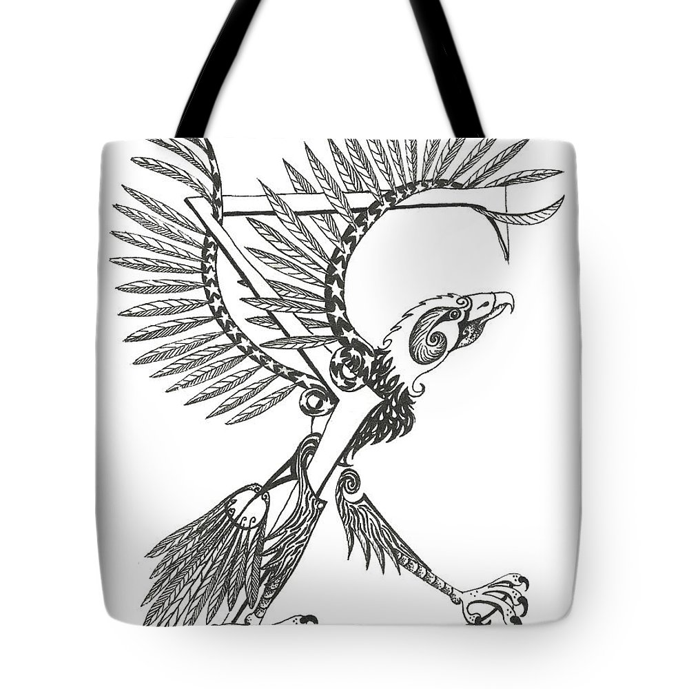 Sigma Tote Bag featuring the drawing Sigma Eagle by Melinda Dare Benfield