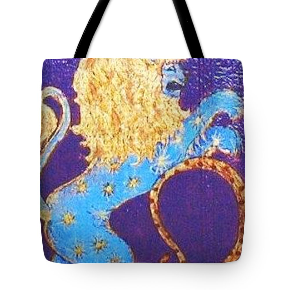 Original Art Tote Bag featuring the greeting card Sign Of Zodiac - Leo by Rae Chichilnitsky