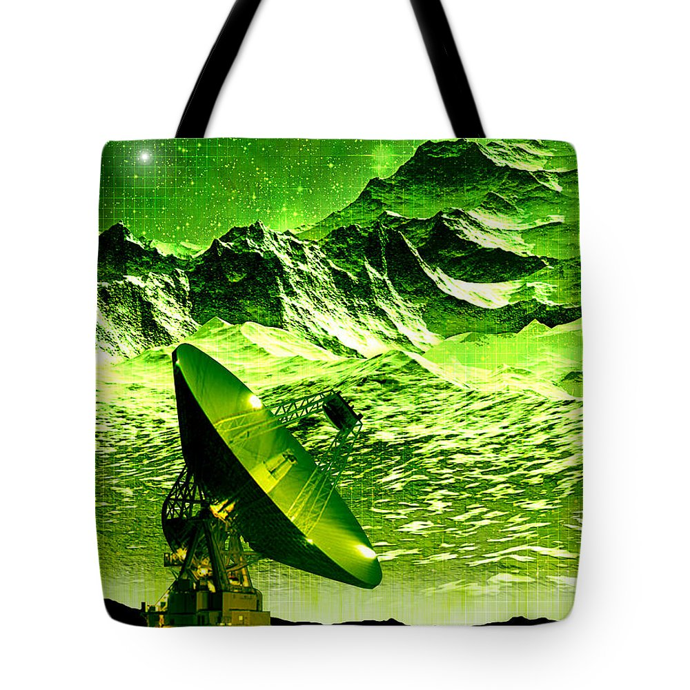 Digital Art Tote Bag featuring the digital art Signal From Space by Phil Perkins