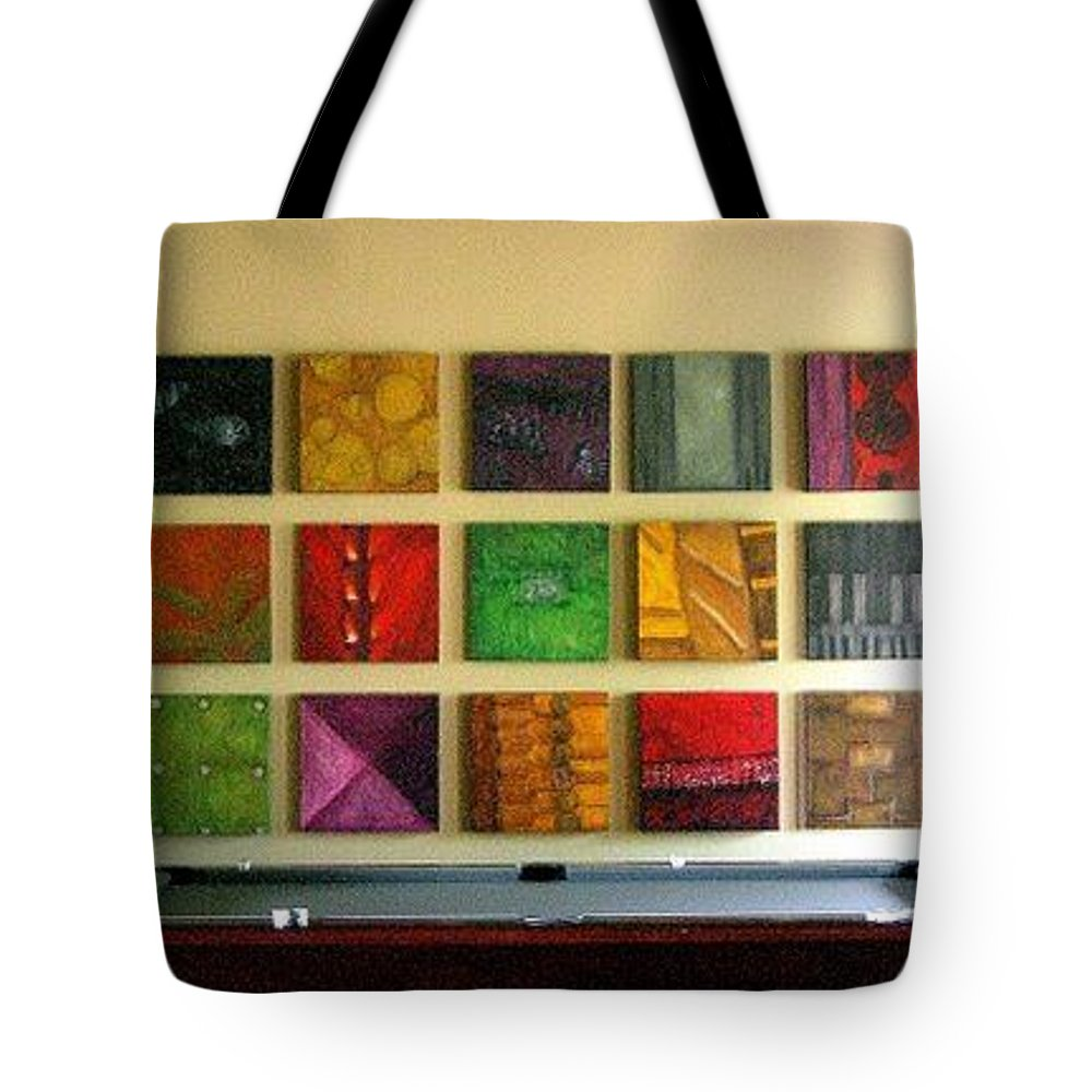 Family Tote Bag featuring the mixed media Signature Set by Marlene Burns