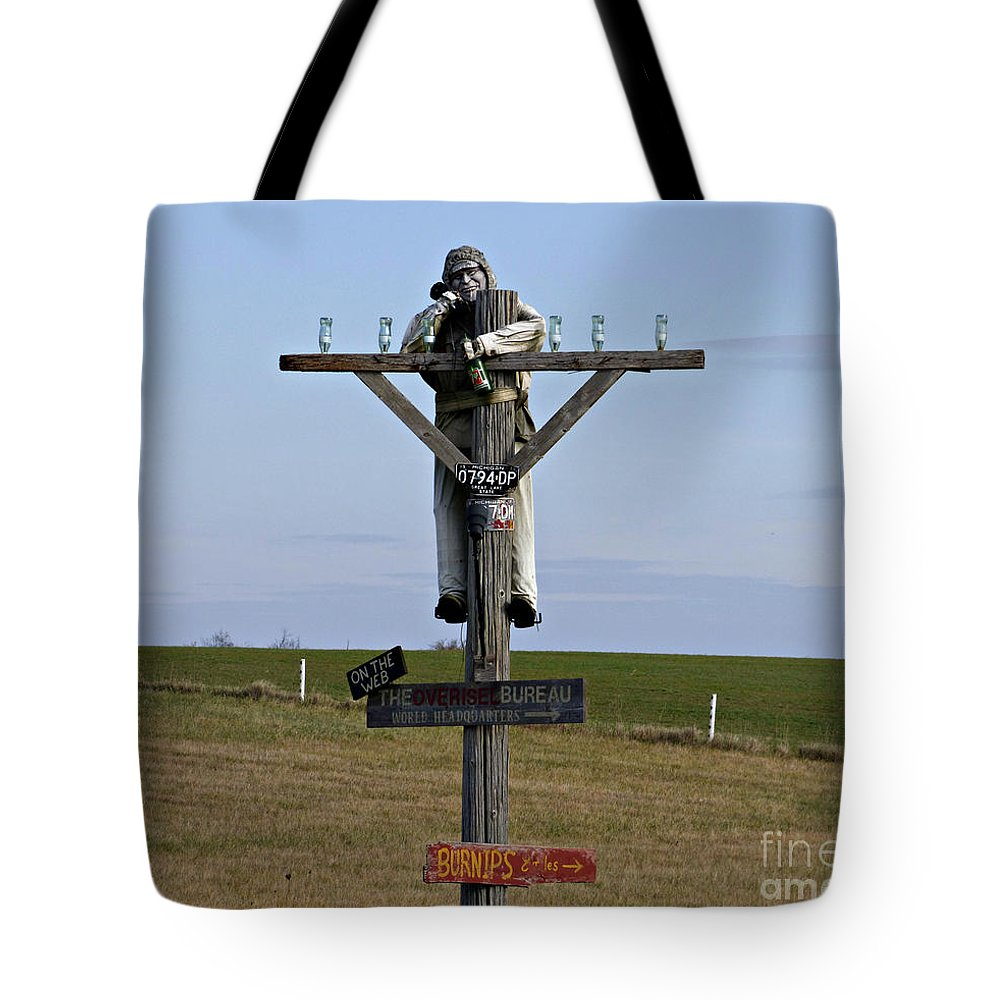 Sign Tote Bag featuring the photograph Signpost Up Ahead by Scott Ward
