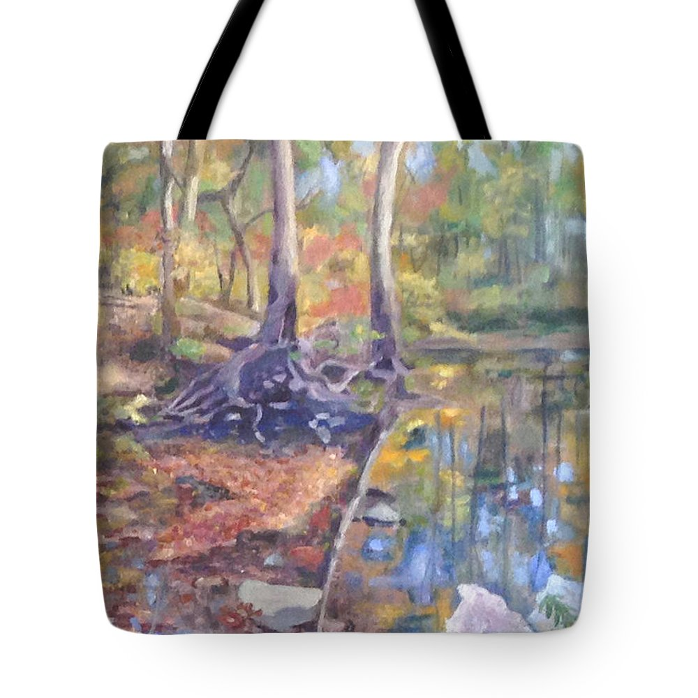 Fall Tote Bag featuring the painting Signs Of Fall by Becky Christenson
