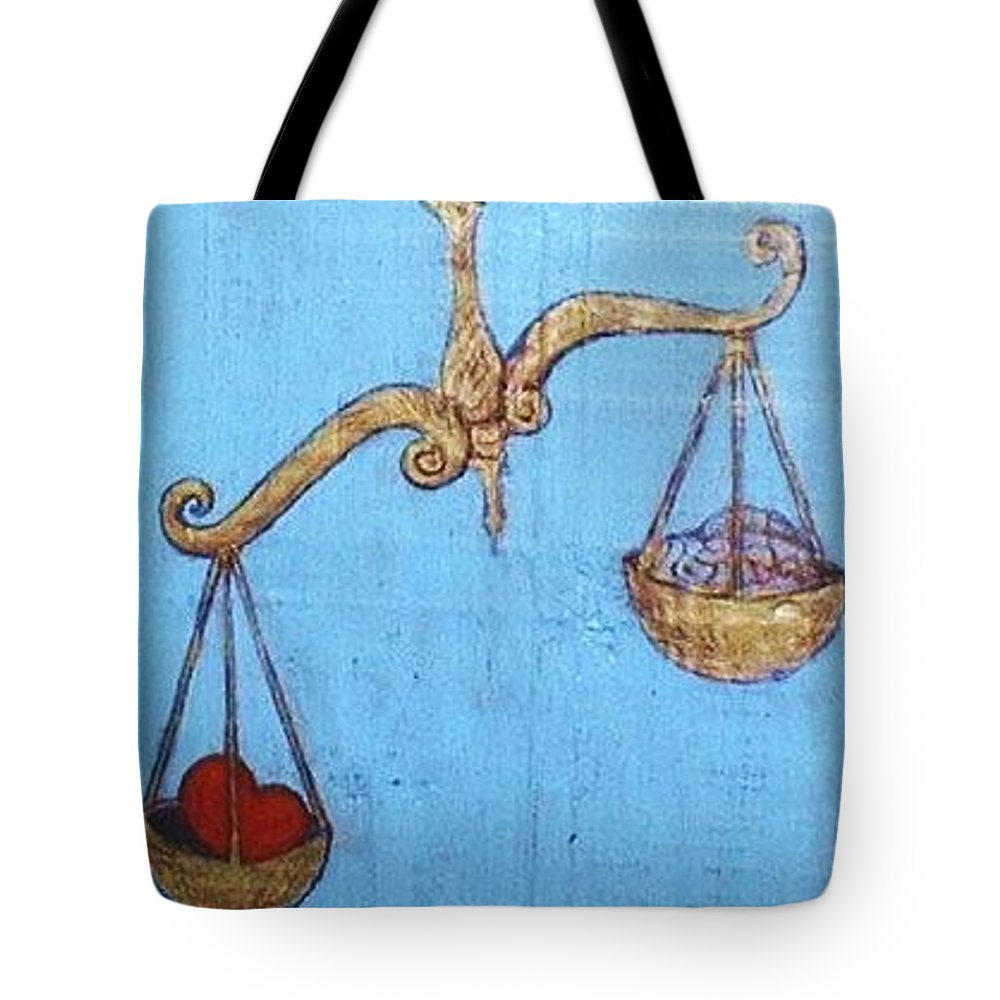 Original Art Tote Bag featuring the greeting card Signs Of Zodiac - Libra by Rae Chichilnitsky