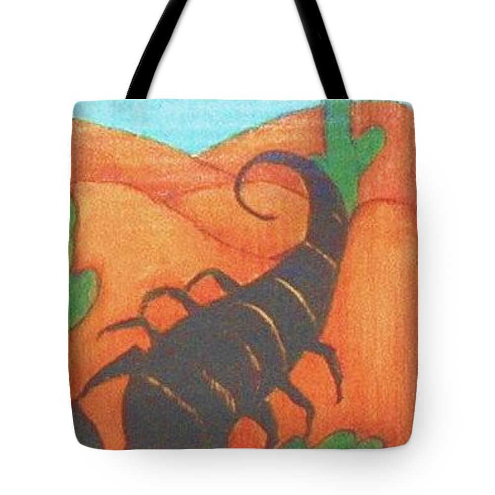 Original Art Tote Bag featuring the greeting card Signs Of Zodiac - Scorpio by Rae Chichilnitsky