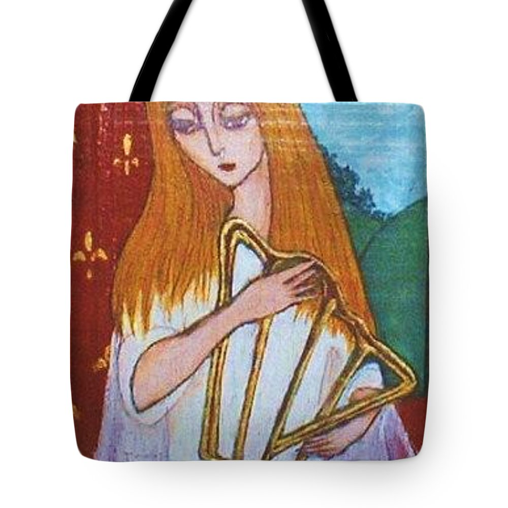 Original Art Tote Bag featuring the greeting card Signs Of Zodiac - Virgo by Rae Chichilnitsky