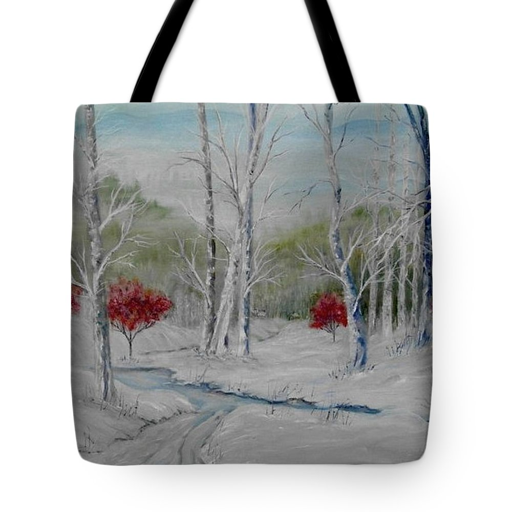 Snow; Winter; Birch Trees Tote Bag featuring the painting Silence by Ben Kiger