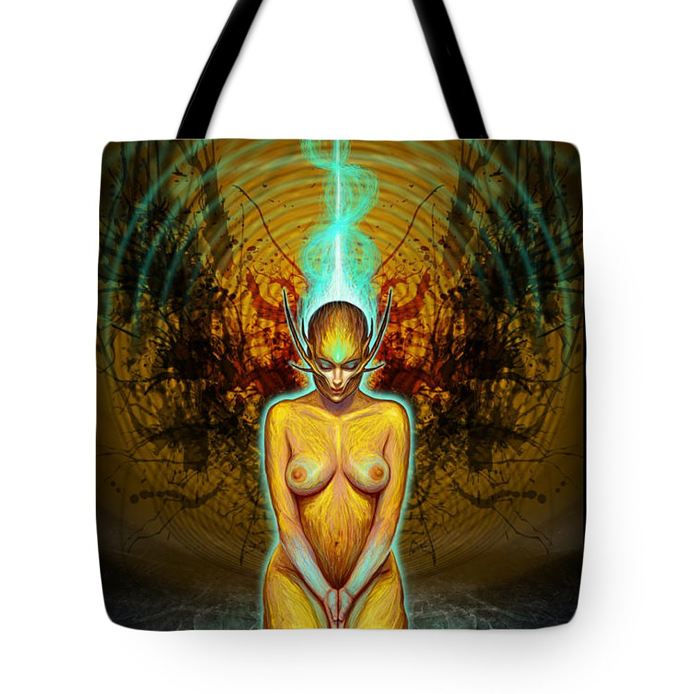 Spiritual Tote Bag featuring the drawing Silence Is Golden by Tony Koehl