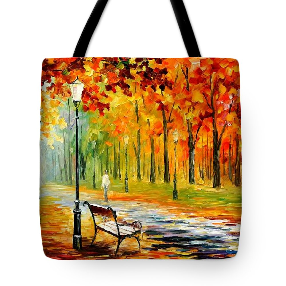 Afremov Tote Bag featuring the painting Silence Of The Fall by Leonid Afremov