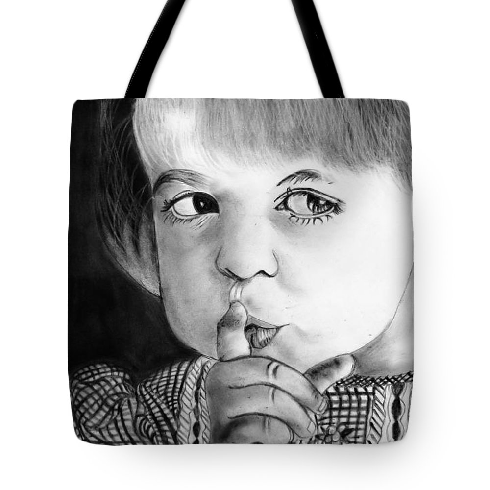 Kid Tote Bag featuring the painting Silence Please by Rupali Kumbhani
