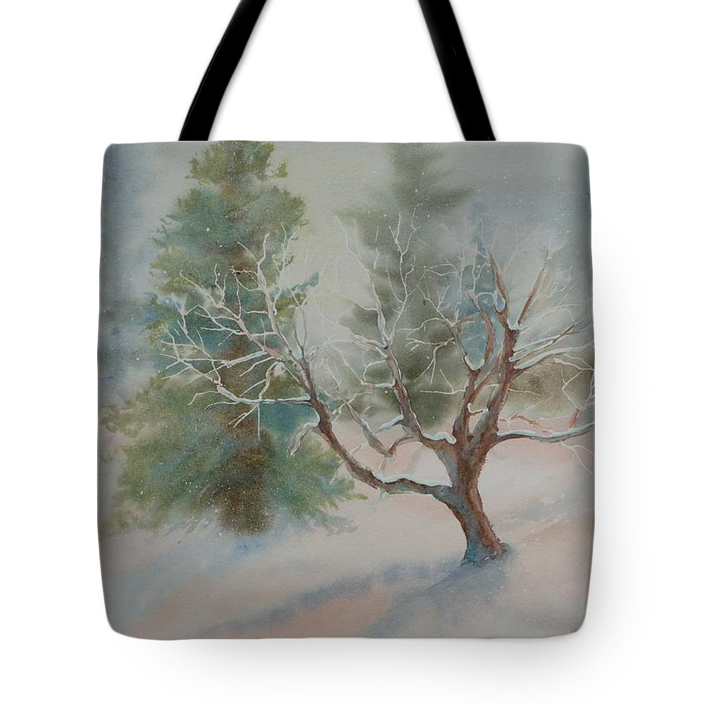 Snow Tote Bag featuring the painting Silence by Ruth Kamenev