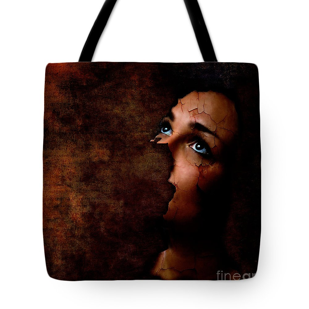 Surreal Tote Bag featuring the digital art Silenced by Jacky Gerritsen