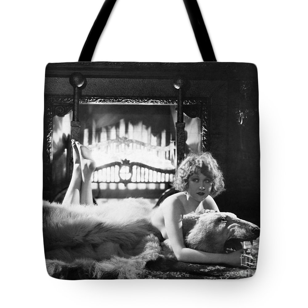 -women Single Figures- Tote Bag featuring the photograph Silent Film Still: Woman by Granger