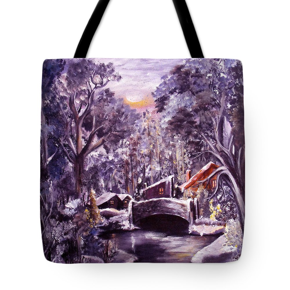 Landscape Tote Bag featuring the painting Silent Night by Ruth Palmer