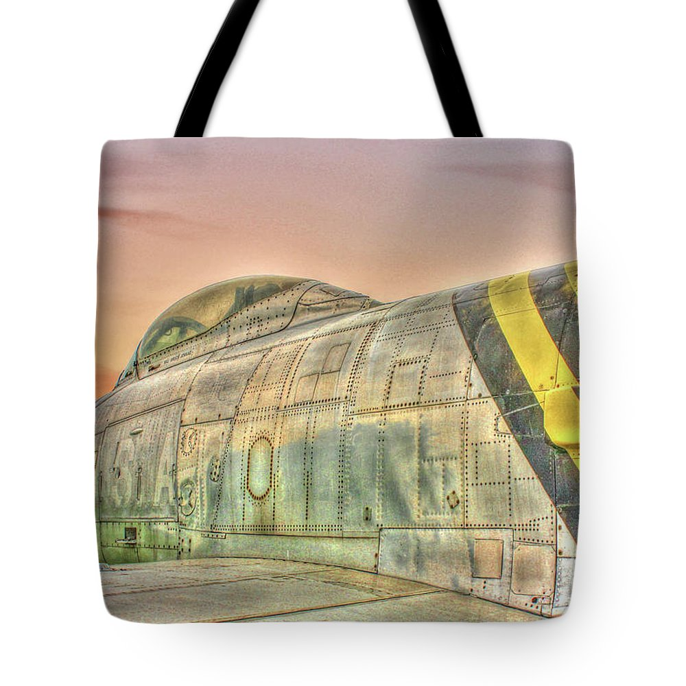 North American F-86 Sabre Tote Bag featuring the photograph Silent Warrior by Tommy Anderson