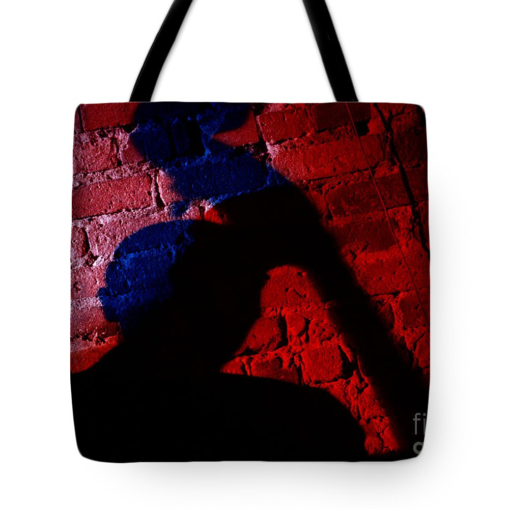 Cafe Au Go Go Tote Bag featuring the photograph Silhouette Of A Jazz Musician 1964 by The Harrington Collection