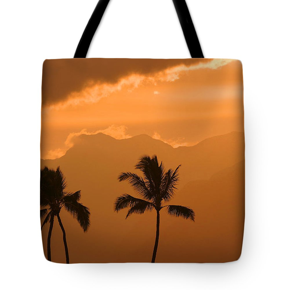 Bright Tote Bag featuring the photograph Silhouetted Palms by Ron Dahlquist - Printscapes