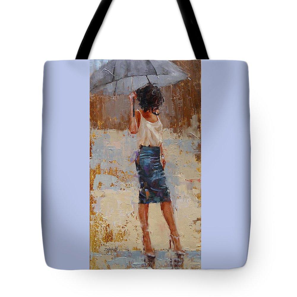 Laura Zanghetti Tote Bag featuring the painting Silk by Laura Lee Zanghetti