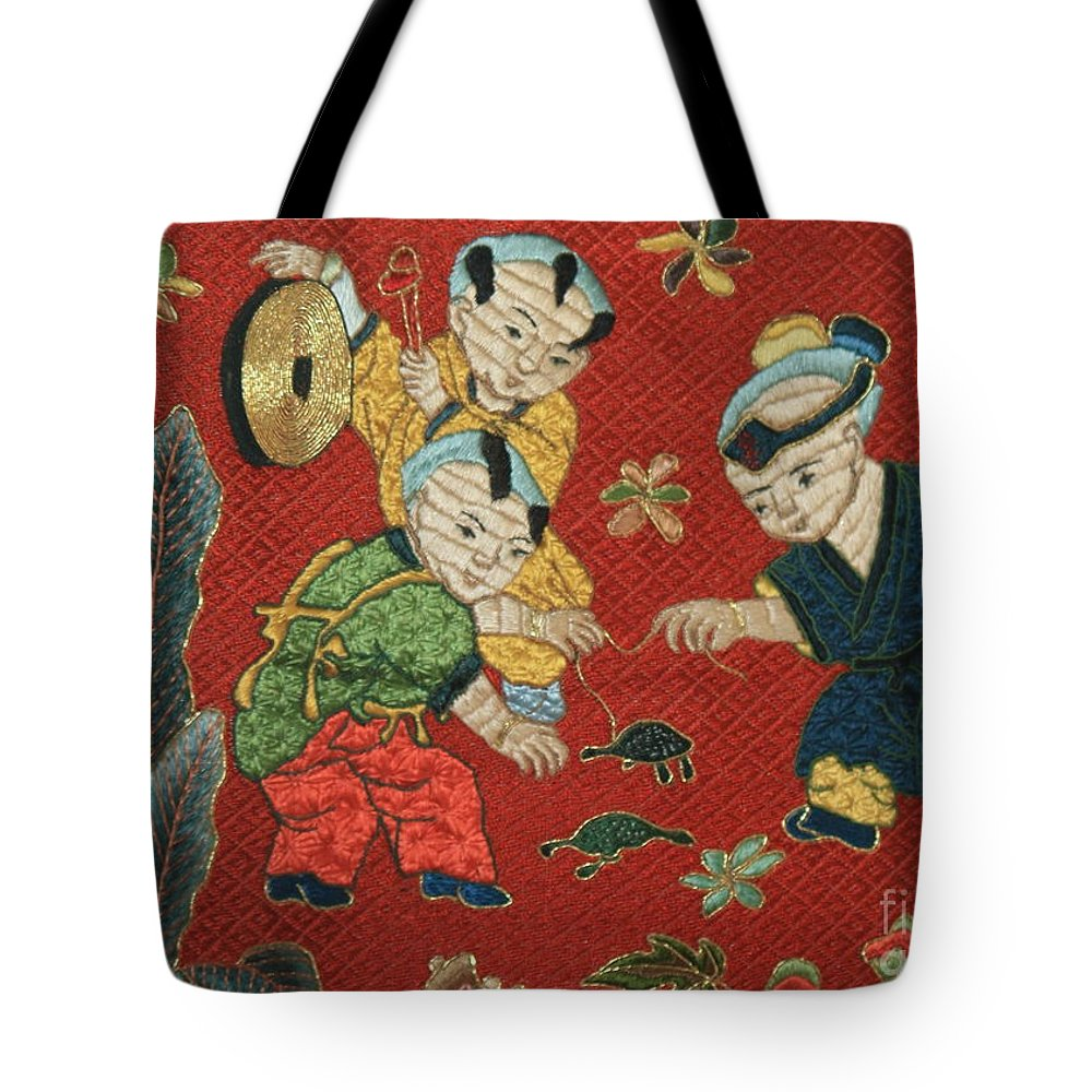 Children Playing Tote Bag featuring the photograph Silk Robe - Children Playing With Turtle by Carol Groenen