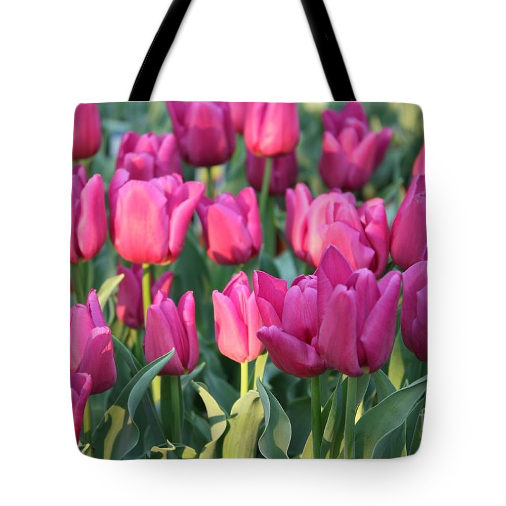 Pink Tulips Tote Bag featuring the photograph Silky Pink Tulips by Carol Groenen