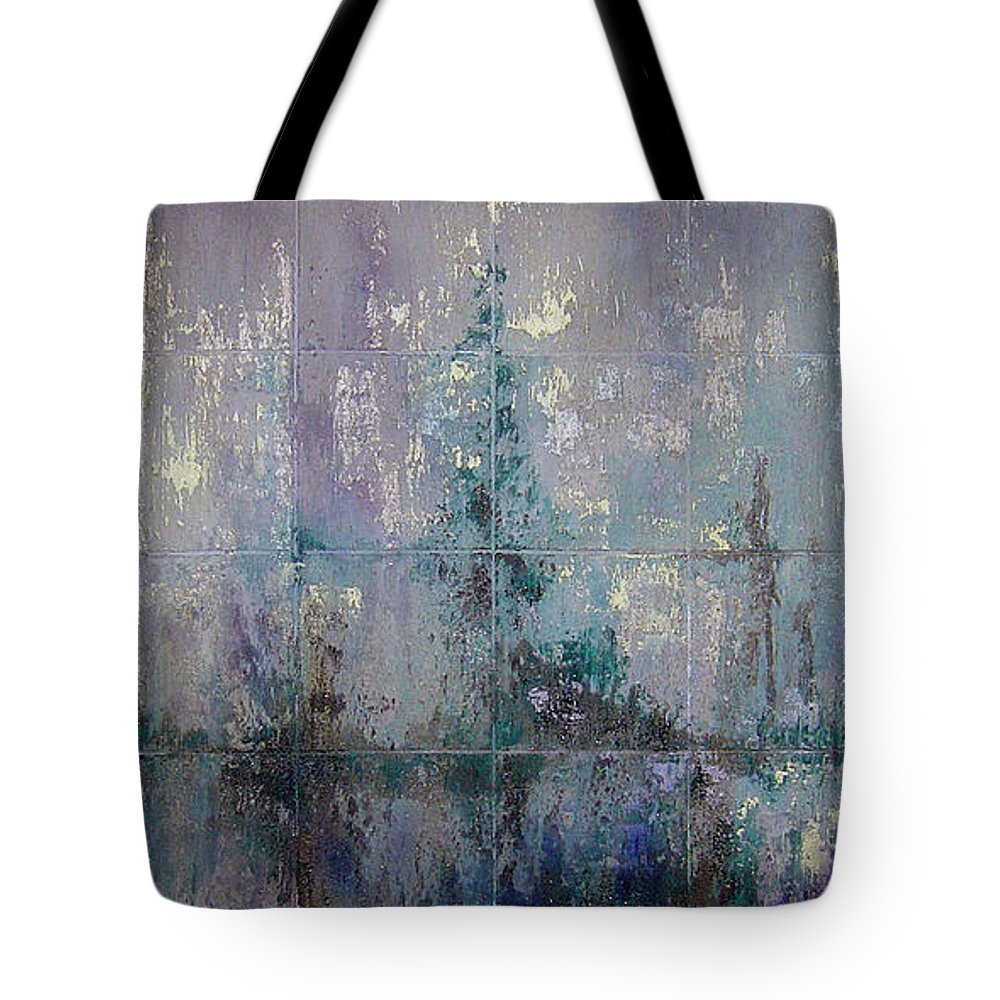 Abstract Tote Bag featuring the painting Silver And Silent by Shadia Derbyshire