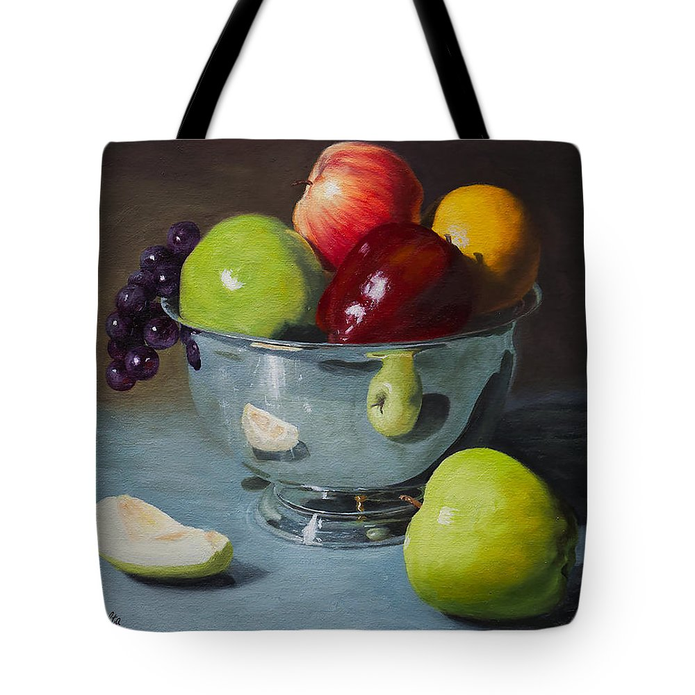 Still Life Tote Bag featuring the painting Silver Bowl Of Fruit by Michael Malta