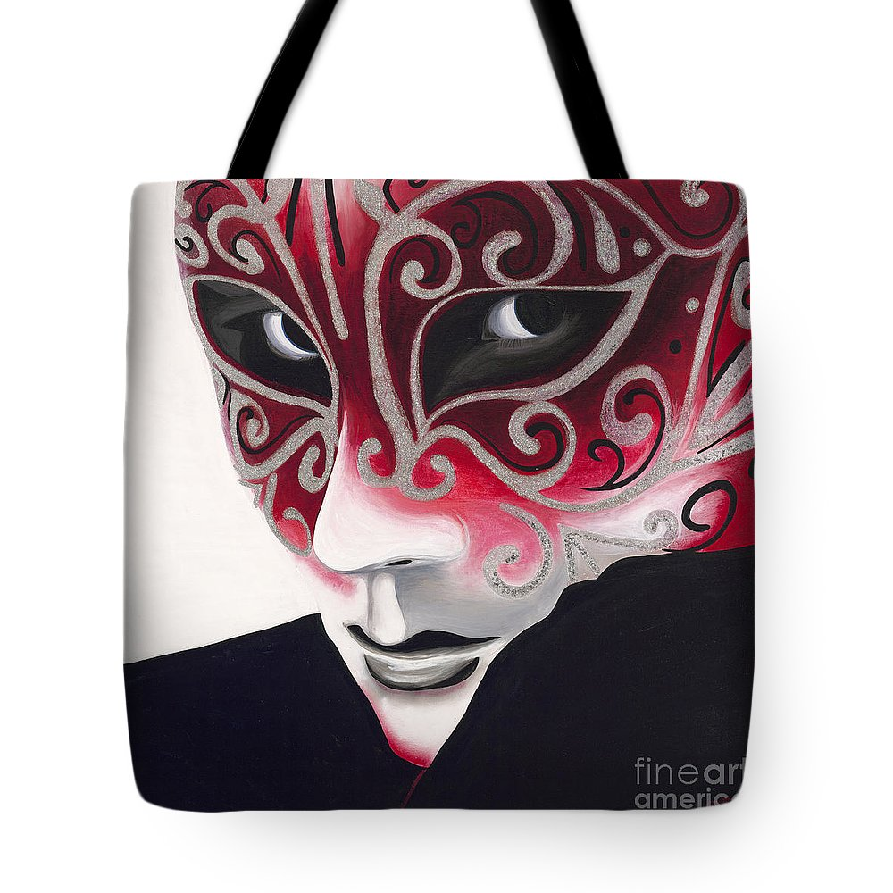 Sliver Tote Bag featuring the painting Silver Flair Mask by Patty Vicknair