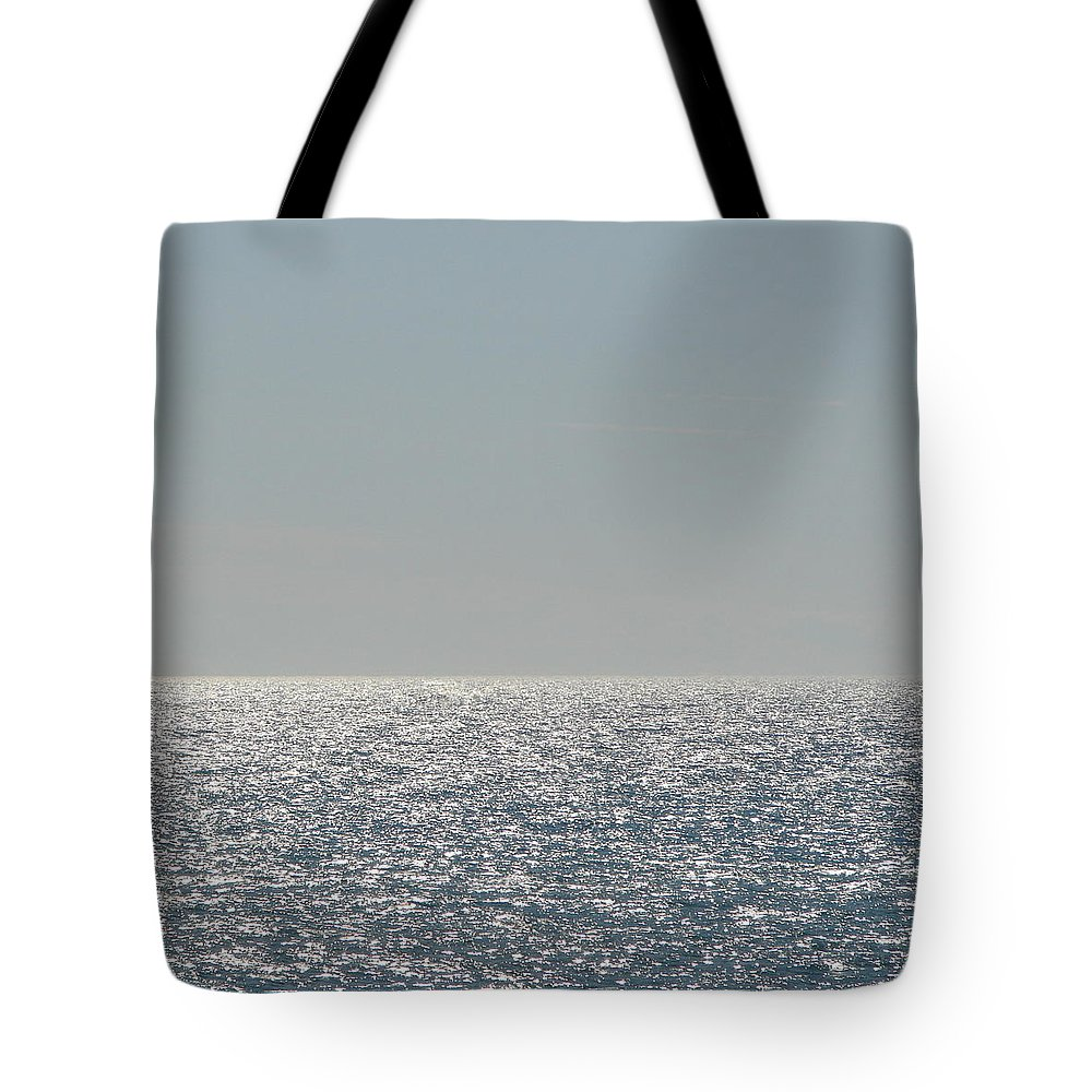 Blue Tote Bag featuring the photograph Silver Light On Lake Michigan by Michelle Calkins