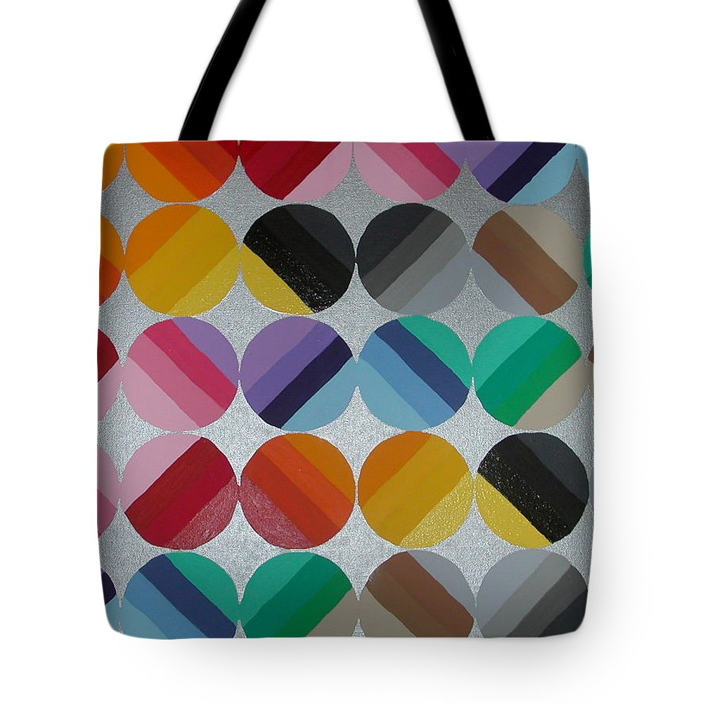 Circles Of Yellow Tote Bag featuring the painting Silver Lining by Gay Dallek