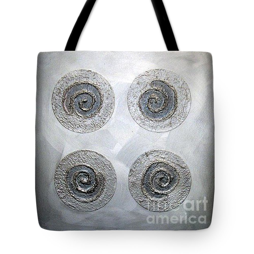 Sets Tote Bag featuring the mixed media Silver Lining Series Number Three by Marlene Burns