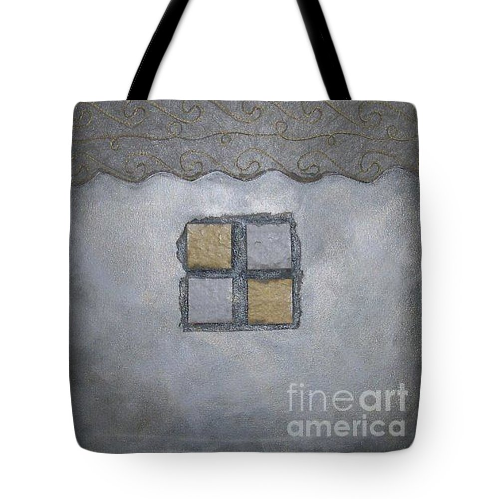 Sets Tote Bag featuring the mixed media Silver Lining Series Number Two by Marlene Burns