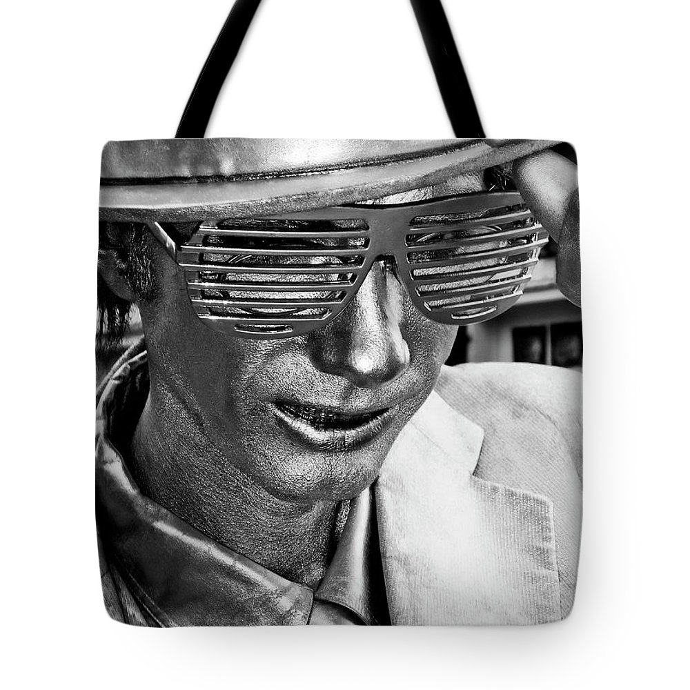 New Orleans Tote Bag featuring the photograph Silver Man Mime by Kathleen K Parker