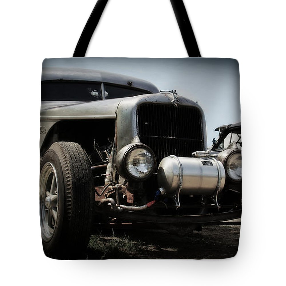 Rat Rod Tote Bag featuring the photograph Silver Rat Rod by Perry Webster