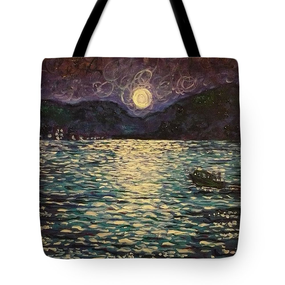 Landscape Tote Bag featuring the painting Silver Sea by Ericka Herazo