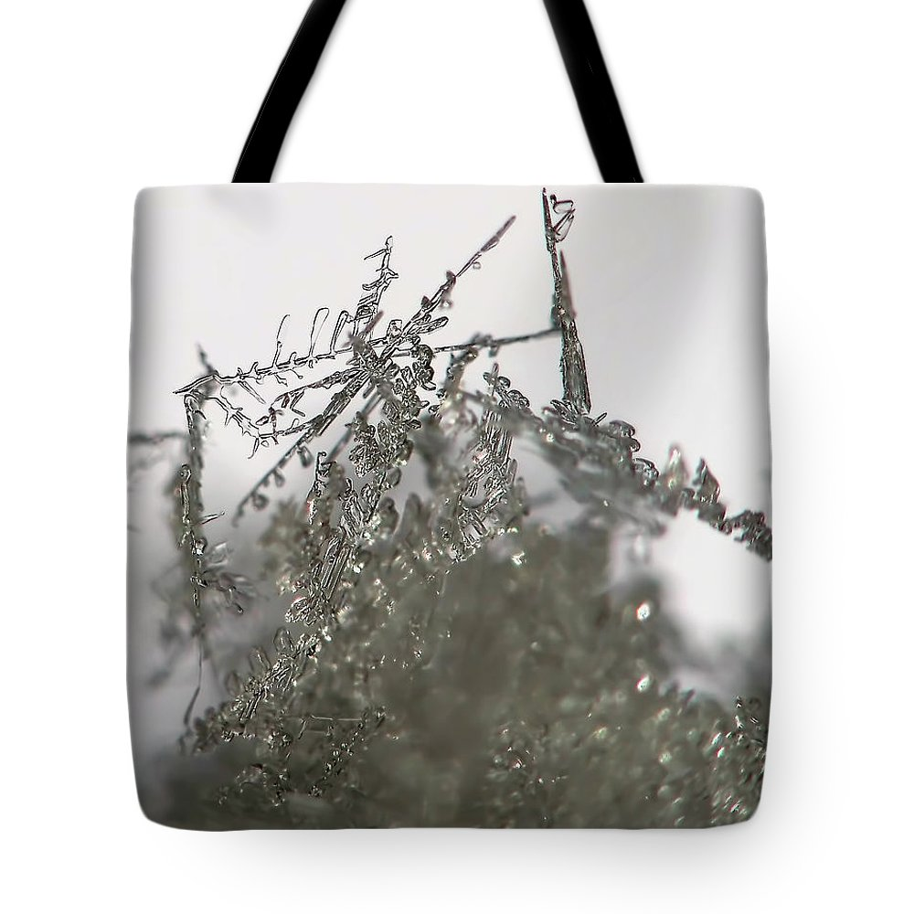 Macro Tote Bag featuring the photograph Silver Snow by Lauren Radke