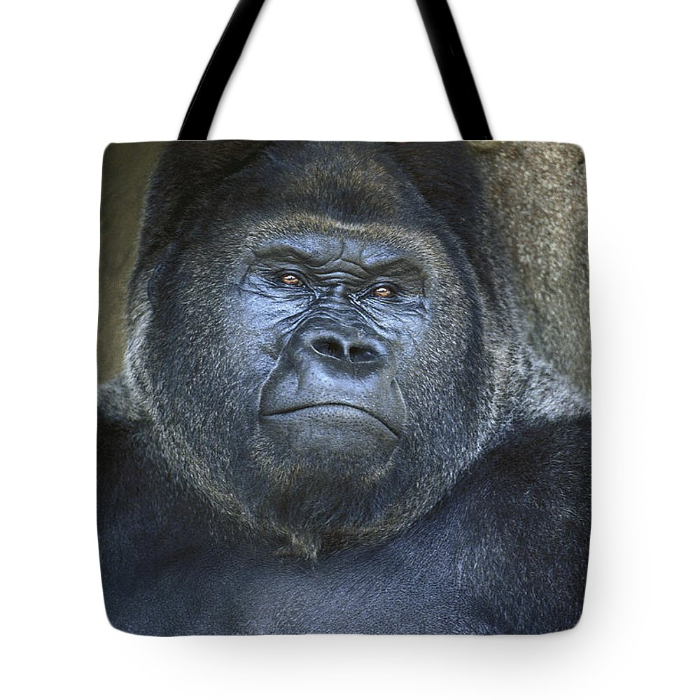 Gorilla Tote Bag featuring the photograph Silverback Portrait by Paul W Faust - Impressions of Light