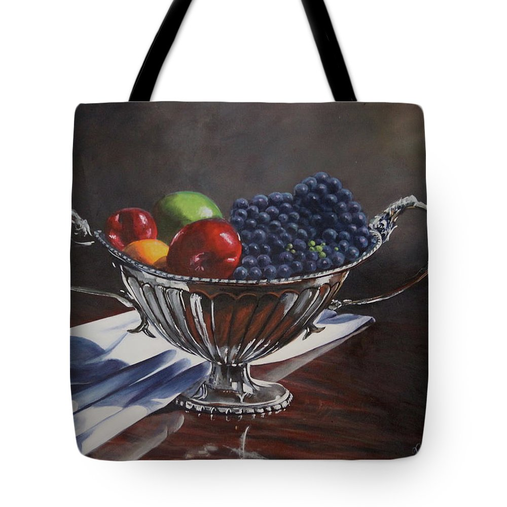 Silver Bowl Silver Bowl Tote Bag featuring the painting Silvered Fruit by Lorraine Vatcher