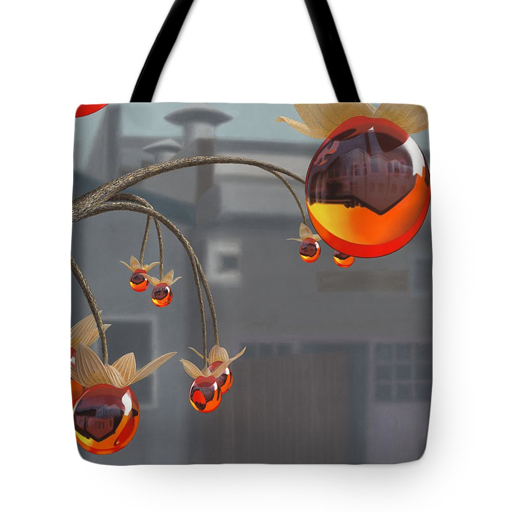 Orange Tote Bag featuring the painting Simmondsia Vitra by Patricia Van Lubeck