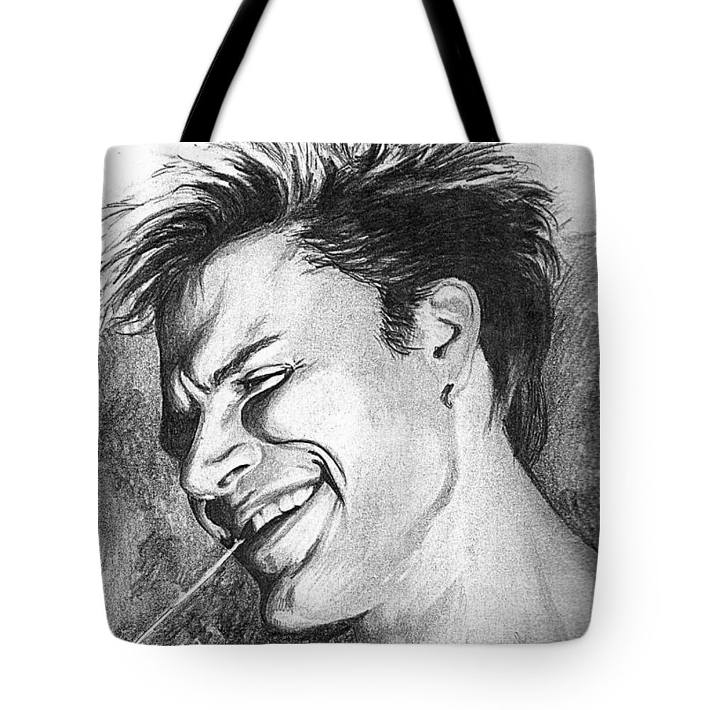 Simon Man Face Portrait Young Fresh Smile Tote Bag featuring the drawing Simon by Veronica Jackson