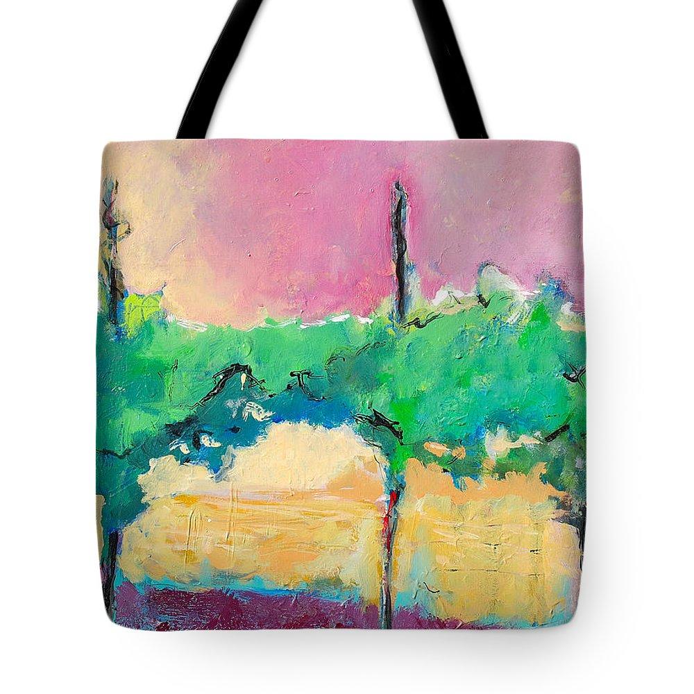 Vineyard Tote Bag featuring the painting Simpatico by Kurt Hausmann