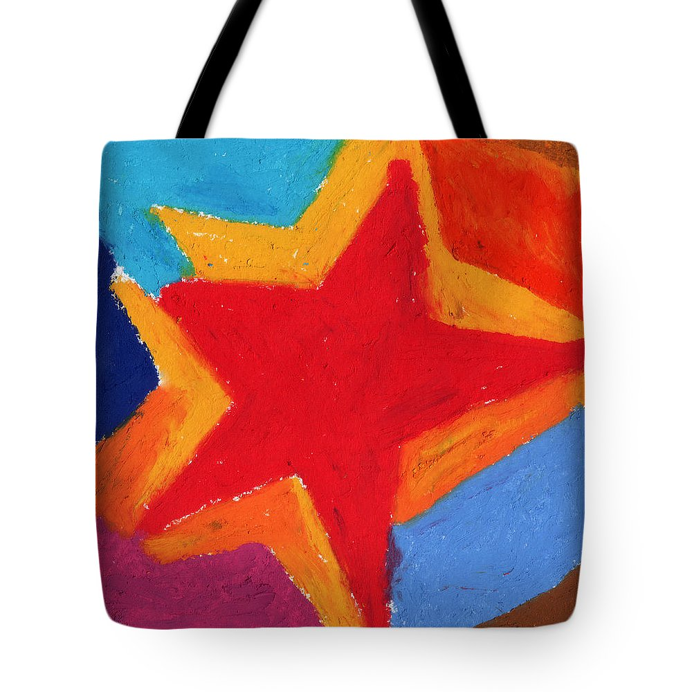 Star Tote Bag featuring the painting Simple Star-straight Edge by Stephen Anderson
